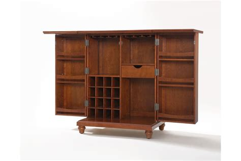 Expandable Bar Cabinet Cambridge Expandable Bar Cabinet In Classic Cherry Finish By Crosley Fdrop 170327