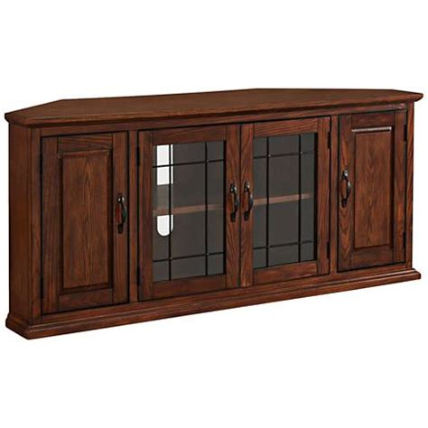 Oak Tv Cabinet With Glass Doors Leick Burnished Oak 4 Door Leaded Glass Corner Tv Cabinet 10g91 Ls Plus