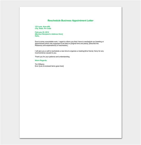 reschedule appointment letter template business appointment letter template 13 sles formats