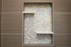 Butterfly Bath Rug Shower With Recessed Niche Of Mosaic Glass Tile