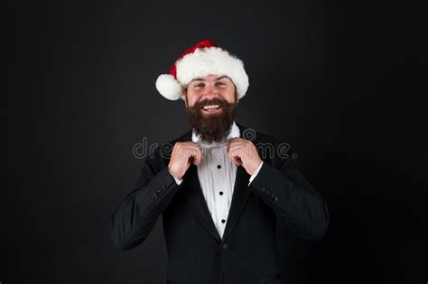 corporate christmas party man bearded cheerful hipster santa hold champagne  glasses
