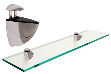 Glass Shelf Brackets Brushed Nickel by Rectangle Floating Glass Shelf 6 X 18 W Brushed Nickel