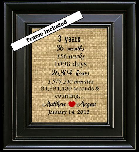 framed personalized third wedding anniversary gift 3rd