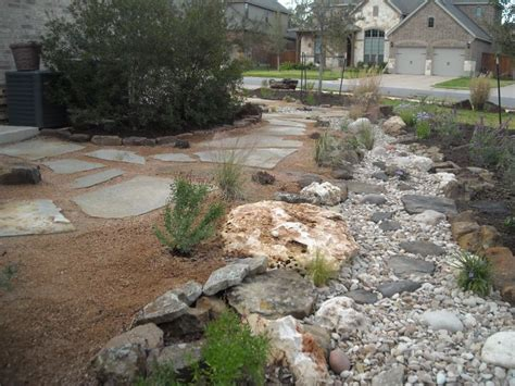 crushed granite with river rock swale google search drought tolerant landscape southern