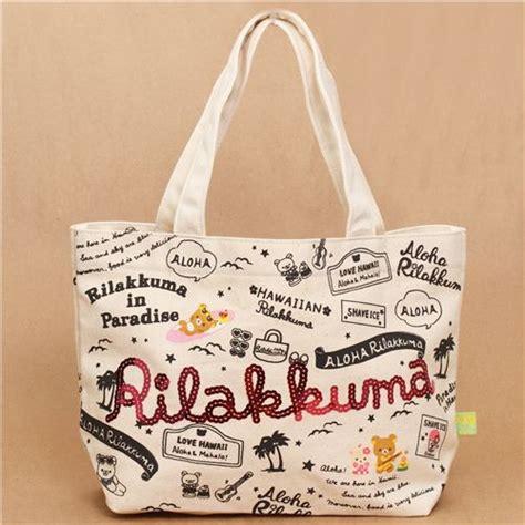 Rillakuma Bag Canvas Jinjing Pink aloha rilakkuma hawaii canvas linen handbag handbags