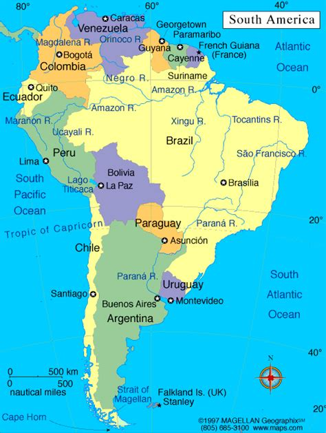 south map south america capital map