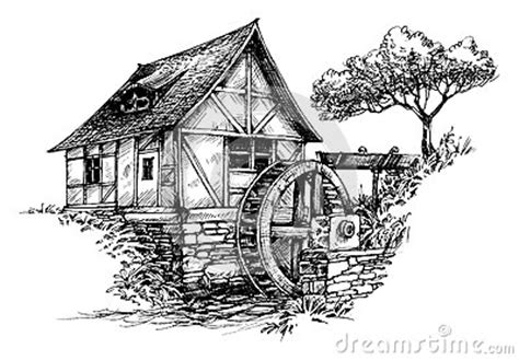 old water mill sketch stock illustration image: 61184364