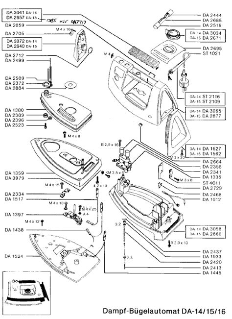 rowenta iron parts diagram rowenta da15 irons spares