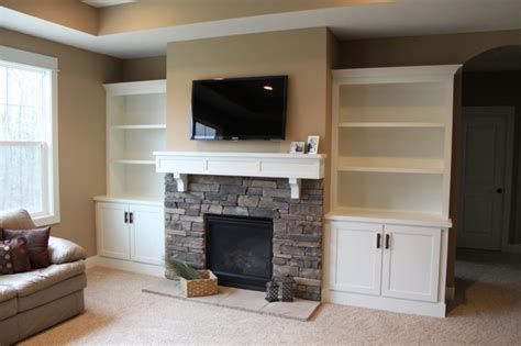Living Room Large White Wooden Bookcase With Brick Stone Built In Bookshelves Around Tv