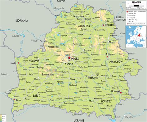 physical map  belarus ezilon maps
