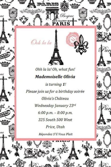 paris themed birthday invitations paris theme invite paris themes pinterest
