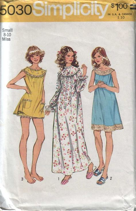 patterns sewing canada simplicity 5030 vintage 70s womens baby doll night dress