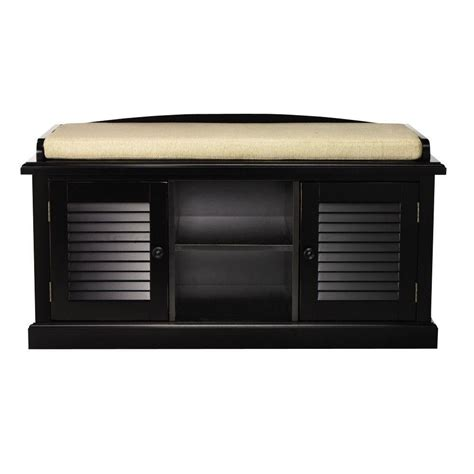Home Decorators Bench by Home Decorators Collection Worn Black 2 Door Storage Bench 1157810210 The Home Depot