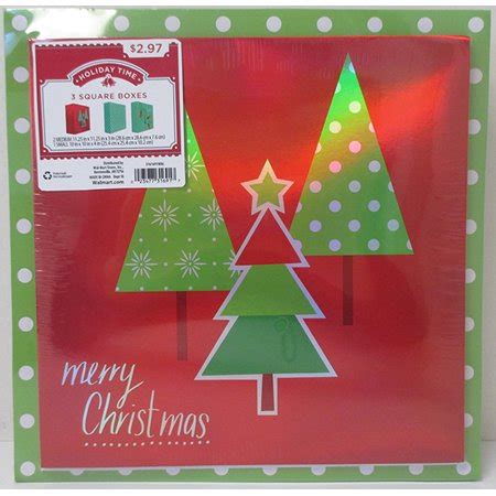 holiday time  pack square gift box assortment print merry christmas tree holographic