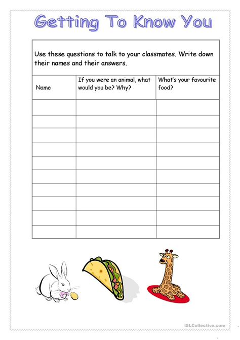 Getting To You Worksheets by Getting To You Survey Animals Food Vocabulary