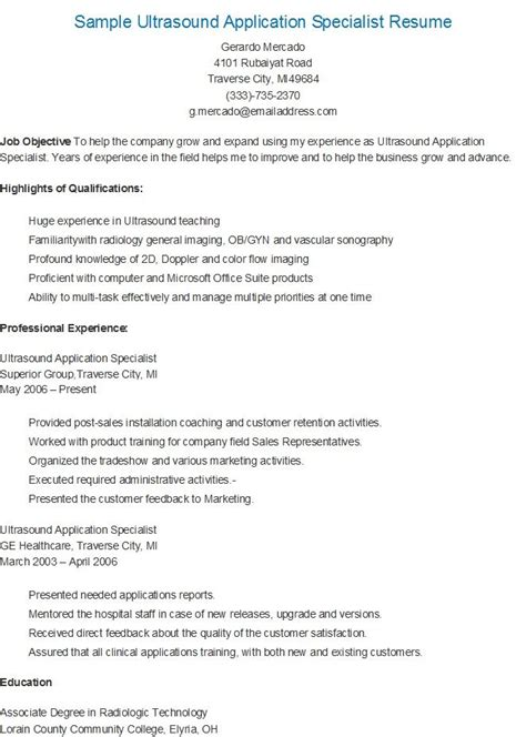 ultrasound resume exles sle ultrasound application specialist resume resame