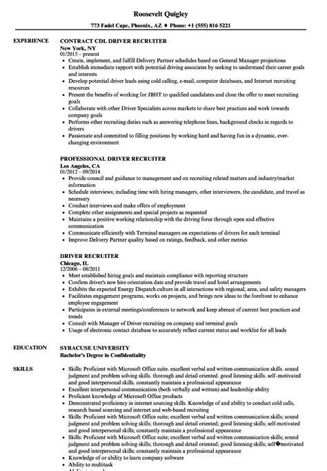 resume template for driver position stunning sle recruiter resume contemporary resume