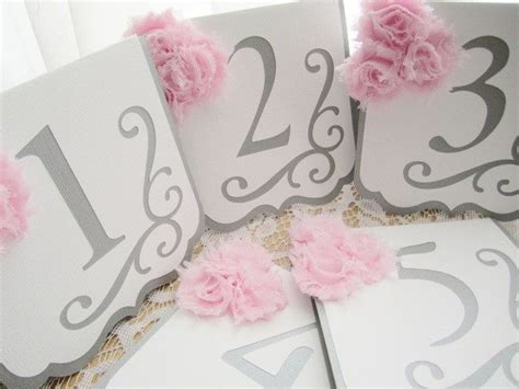 wedding color idea pink and grey white silver oooo now wedding table numbers quot flourish quot in silver gray and