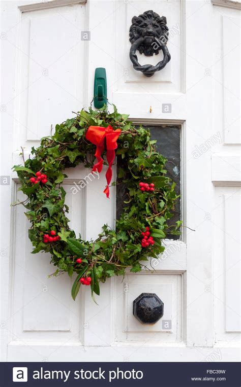 how to make a christmas door hanging on youtube wreath on front door hanging stock photo royalty free image 93079109 alamy