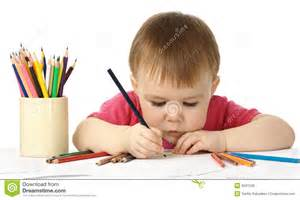 Child Color by Cute Child Draw With Color Crayons Royalty Free Stock