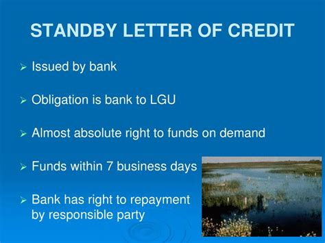 Financial Standby Letter Of Credit Exle Ppt Financial Assurances The Minnesota Wetland Conservation Act Powerpoint Presentation