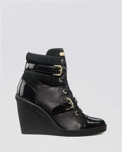 michael kors wedge sneakers black michael michael kors lace up high top wedge sneakers skid