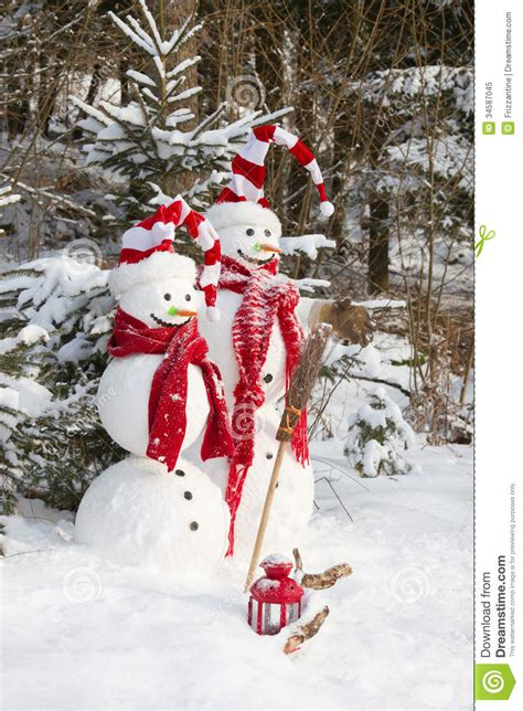 snowman couple in love christmas outdoor decoration with