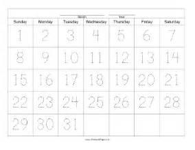28 Day Calendar Template by Printable Handwriting Calendar 31 Day Sunday
