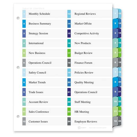 Avery 11321 Two Column Table Contents Dividers W Tabs 24 Printed Tab S Digit 1 24 24 Tab Avery Table Of Contents Template