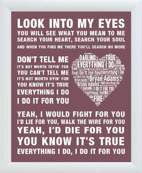 bryan adams song lyrics     framed word art