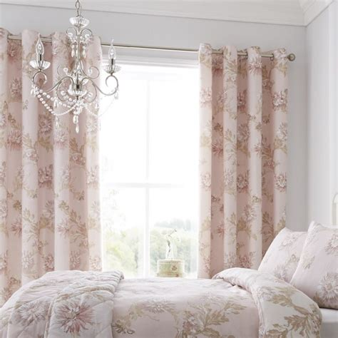 Blush Pink Curtains Chrysanthemum Floral Blush Eyelet Curtains Tonys Textiles