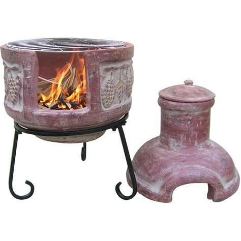 chiminea with cooking grill cheap chiminea pit clay garden landscape