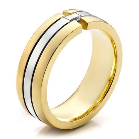 mens  tone gold  diamond wedding band