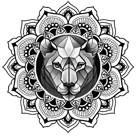 lion mandala tattoo in mandala sketch ornamental dotwork on behance