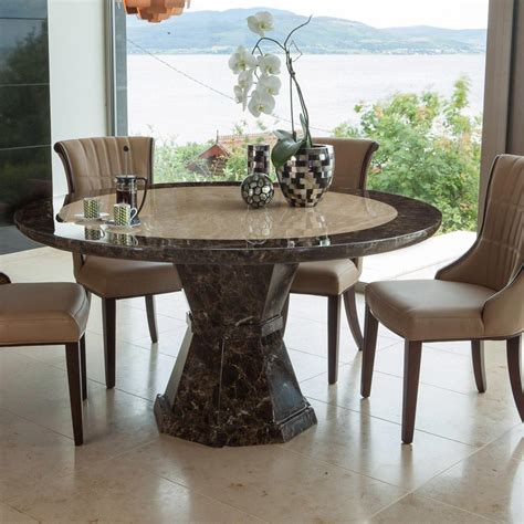 marble dining room table ravelli round single column 1 3m or 1 5m marble dining