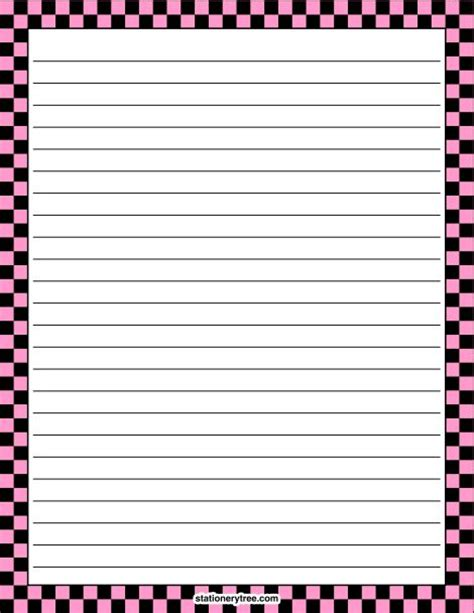 black writing paper printable pink and black checkered stationery and writing
