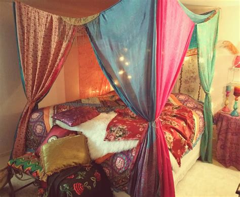 Boho Bed Canopy Boho Bed Canopy Hippie Hippy India Sari Scarves Bedroom