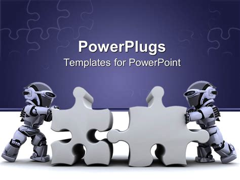 robotics themes for powerpoint powerpoint template two robots holding jigsaw puzzle