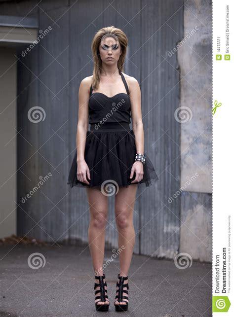 fashion model   black dress stock image image