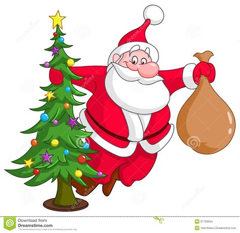santa and a tree santa with tree stock vector image of december