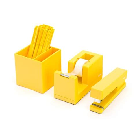 Yellow Desk Accessories Yellow Starter Set Office Supplies Pinterest