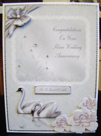 silver wedding anniversary printable cards silver swans 25th wedding anniversary card cup65418