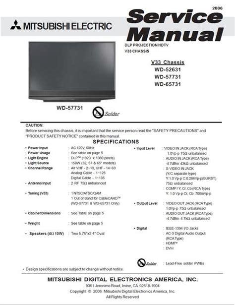 mitsubishi tv software update mitsubishi wd 52631 v33 service manual schematics