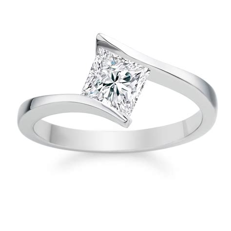 princess cut 0 44 carat d vvs1 18k white gold