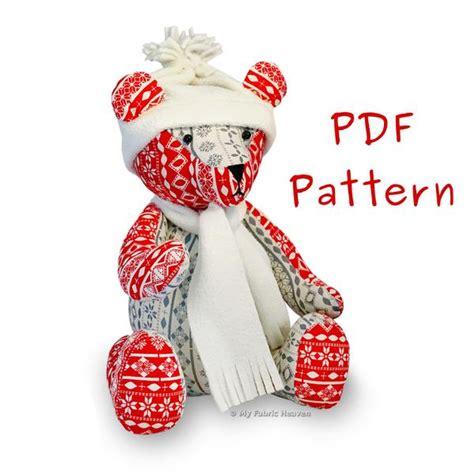 pattern for a fabric teddy bear jingle bear 13 quot teddy bear pdf sewing pattern my fabric