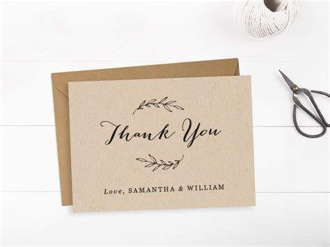 free printable rustic thank you cards thank you card template printable word wedding