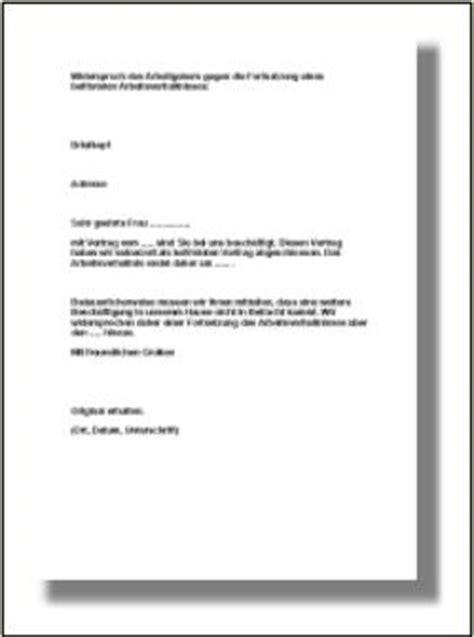 Mahnung Widersprechen Muster Zeitarbeitsvertrag Verl 228 Ngerung Musterschreiben Widerspruch