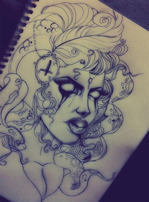 new school medusa tattoo new school style circus medusa gorgona tattoo design by