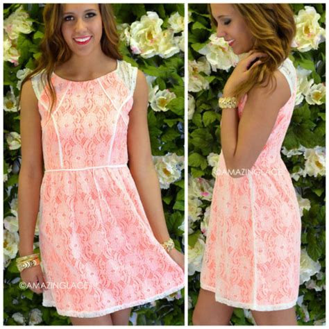 Garden Chic Attire by Dress Neon Pink Lace Overlay Fit And Flare Summer