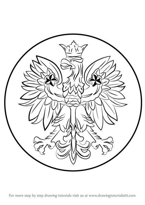 polish eagle coloring page learn how to draw polish eagle poland step by step